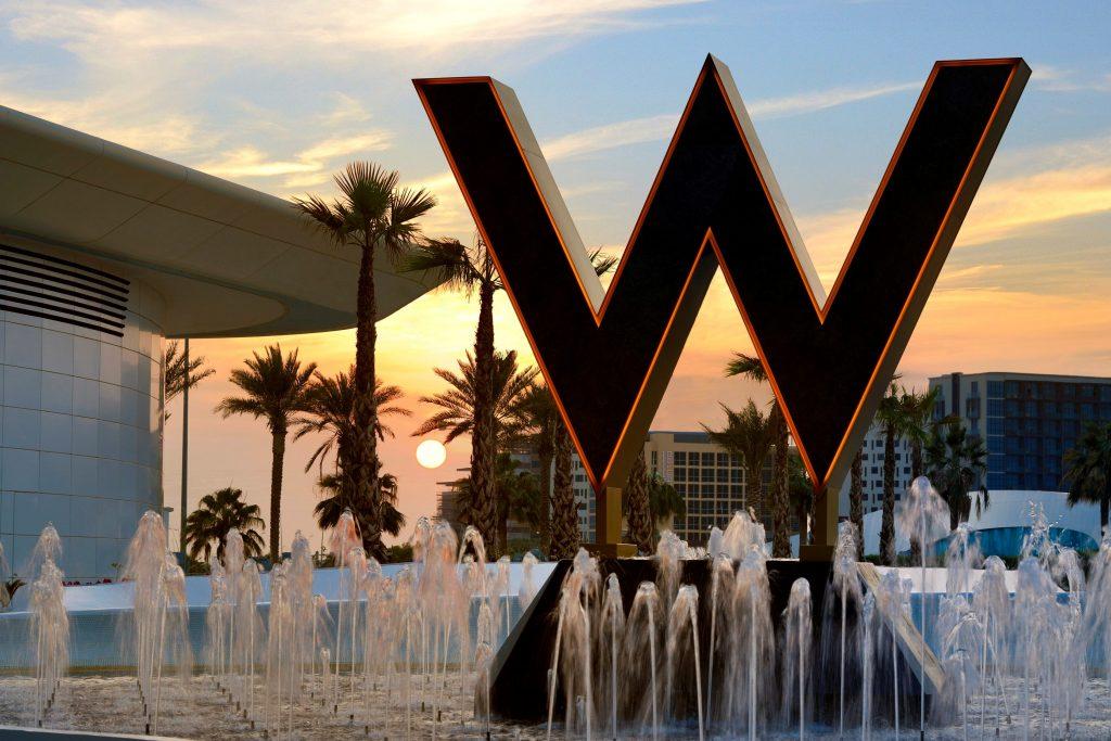 "W Abu Dhabi iconic ""24K bold"" W entrance"