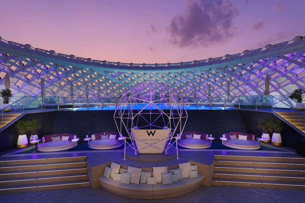 Abu Dhabi WET Deck, central DJ space and VIP daybeds